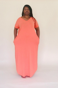 Deep Coral Short Sleeve Maxi Dress