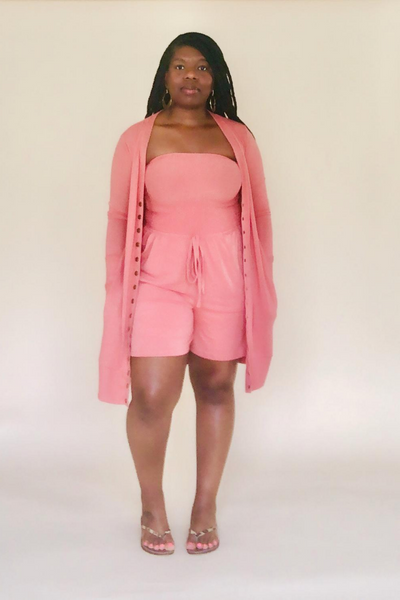 Ash Rose Cardigan and Romper Set