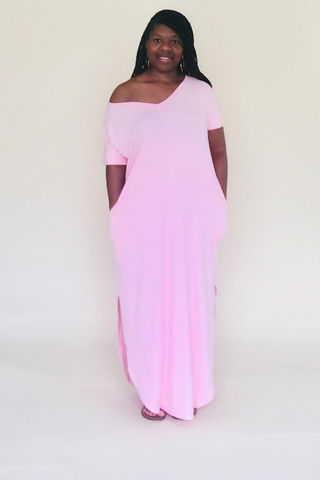 Dusty Pink Short Sleeve Maxi Dress