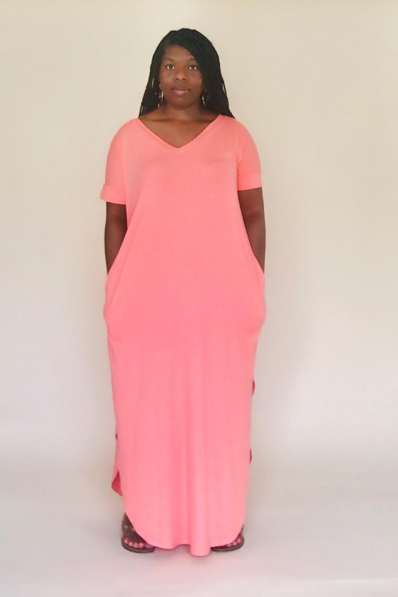 Ash Copper Short Sleeve Maxi Dress