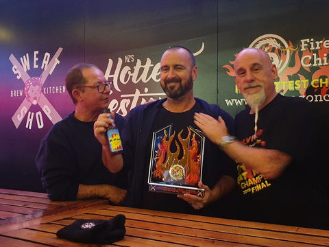 The winning sauce, with Neil Smith (The Hippy Seed Company), Me and Johnny Scoville