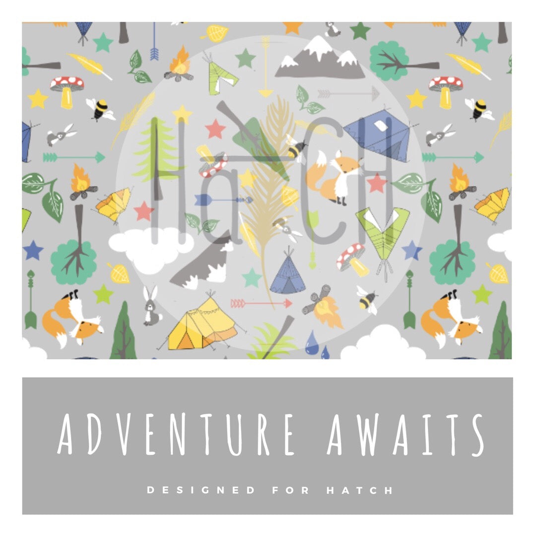 Adventure Awaits Leggings. For babies, children and toddlers. Featuring Foxes, rabbits, tents, camping, campfire, arrows, stars and more. They have a striped cuff and are made from cotton jersey.  Clouds, mountains, trees, woodland life.