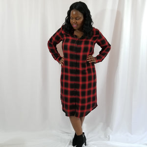 Juno Buffalo Plaid Button-Down Midi Dress
