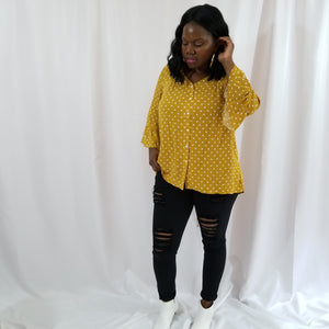 Brightee Polka Dot Bell Sleeve Blouse