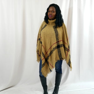 Carmelle Turtleneck Plaid Knit Poncho