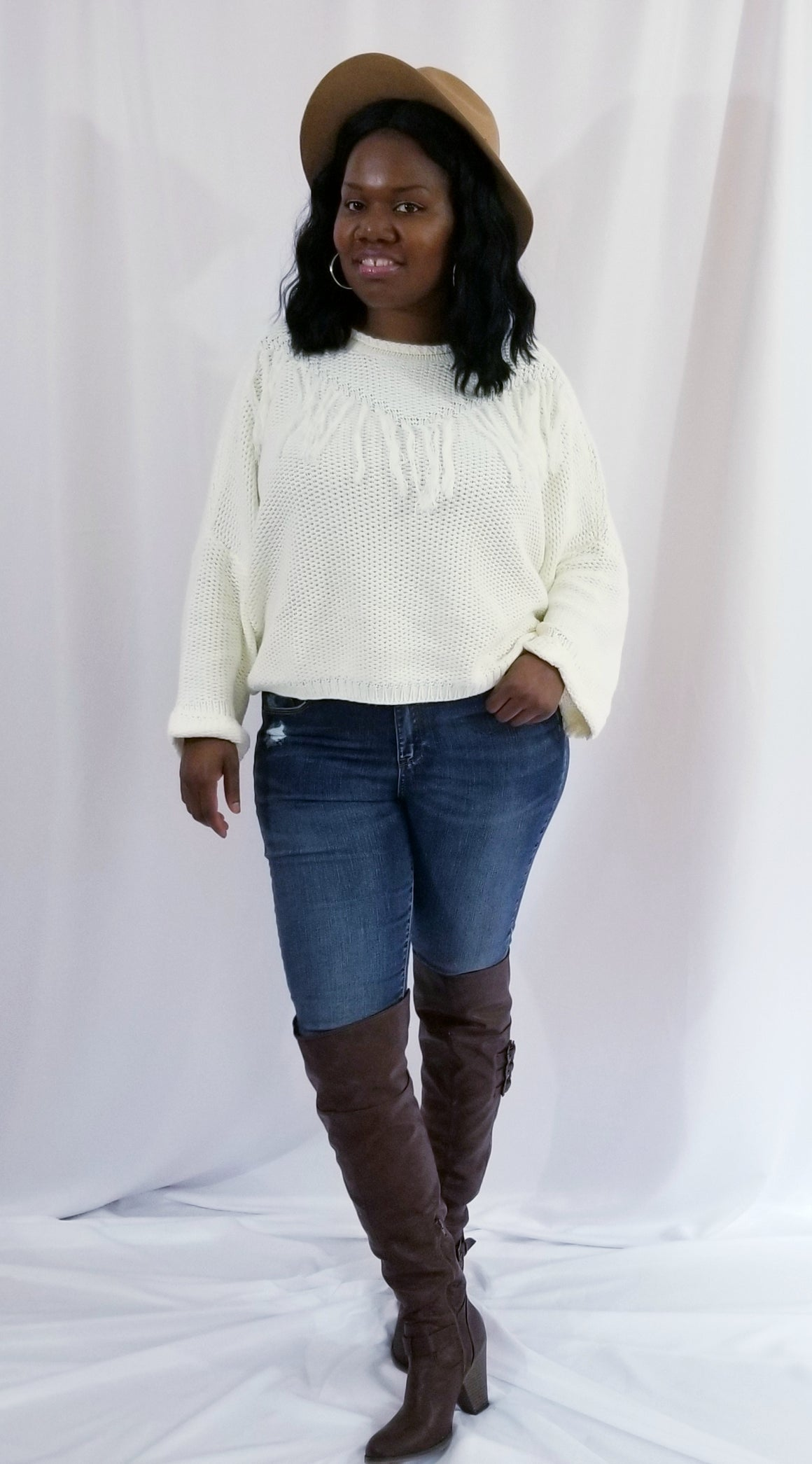 Tory Fringe Over-Sized Chunky Knit Sweater