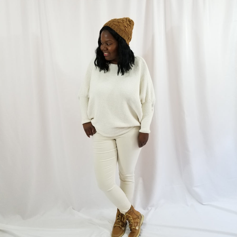 Coziest Chenille Dolman Sleeve Sweater- Plus