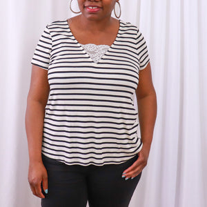 Lace Inset Striped V-neck Top