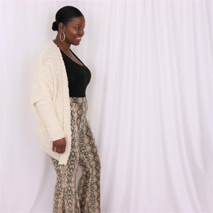 Cadence Popcorn Open Front Cardigan Sweater