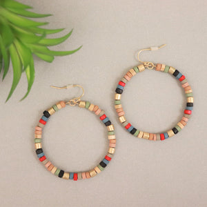 Tube Bead Covered Circle Dangle Earrings