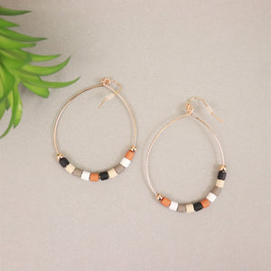 Tube-Bead Pear-Shaped Drop Earrings (Earth Tones)