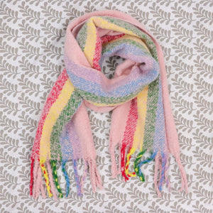 Rainbow Oversized Scarf with Tassels