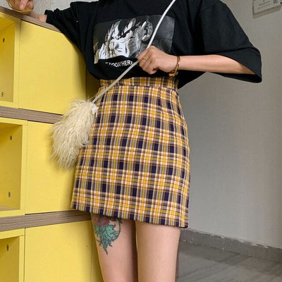 gothic plaid A-line women skirt
