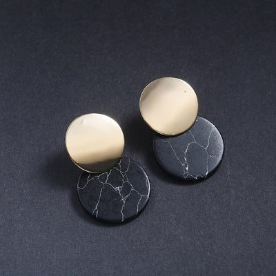 Black White Stone Geometric Earrings