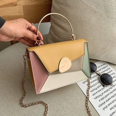 Contrast color Leather Crossbody Bags