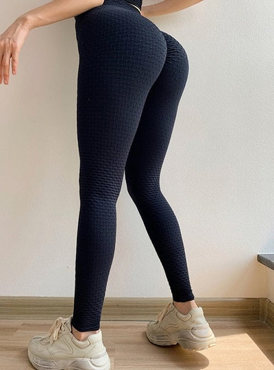 Knitting Jacquard Weave Patchwork Fitness Leggings