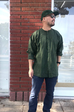 monk wear - Large linen button down shirt