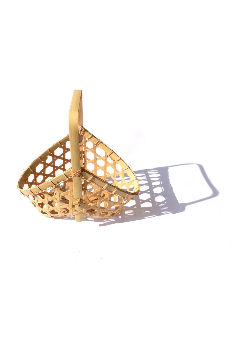 Bamboo basket - trapezoid with handle