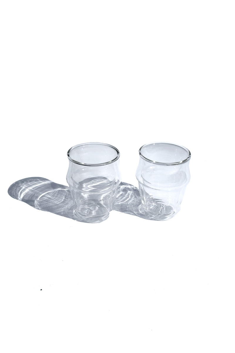 bamboo shaped, double-walled glass cups - short (set of 2)