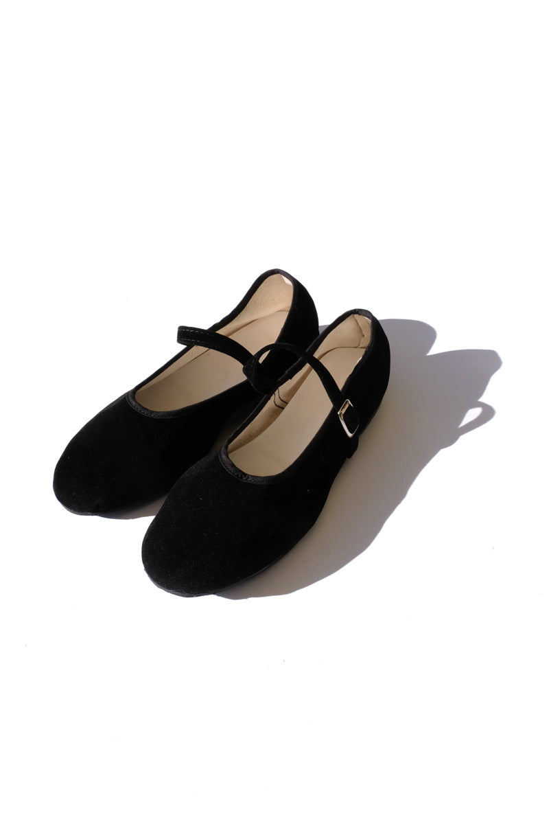 mary jane flats - velvet black