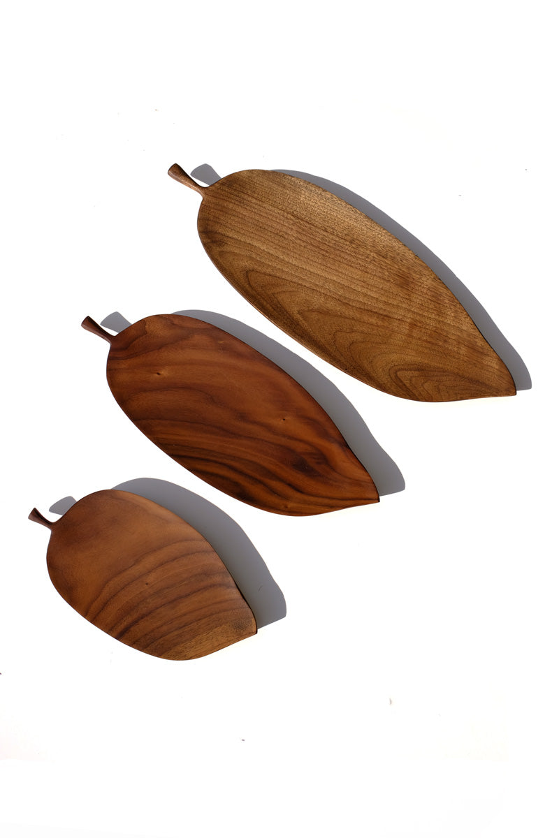 leaf shaped plate - black walnut