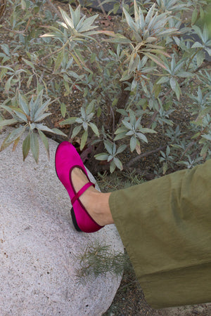mary jane flats - satin magenta