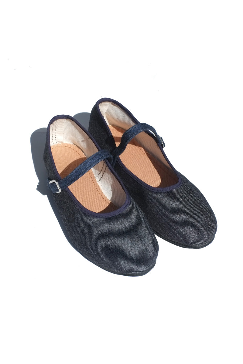 mary jane flats - dark denim