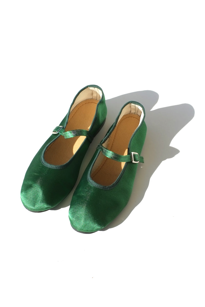mary jane flats - satin green
