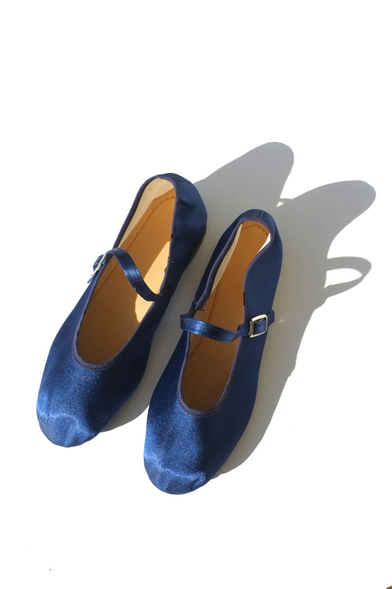 mary jane flats - satin navy