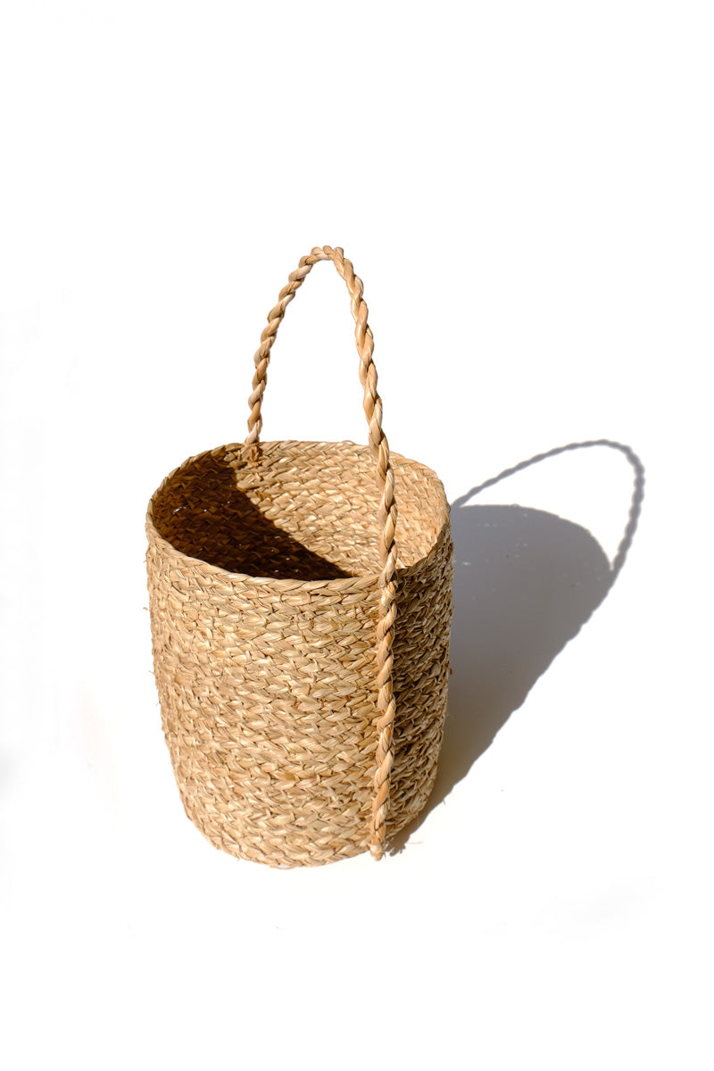 shell ginger twisted woven basket - cyclinder