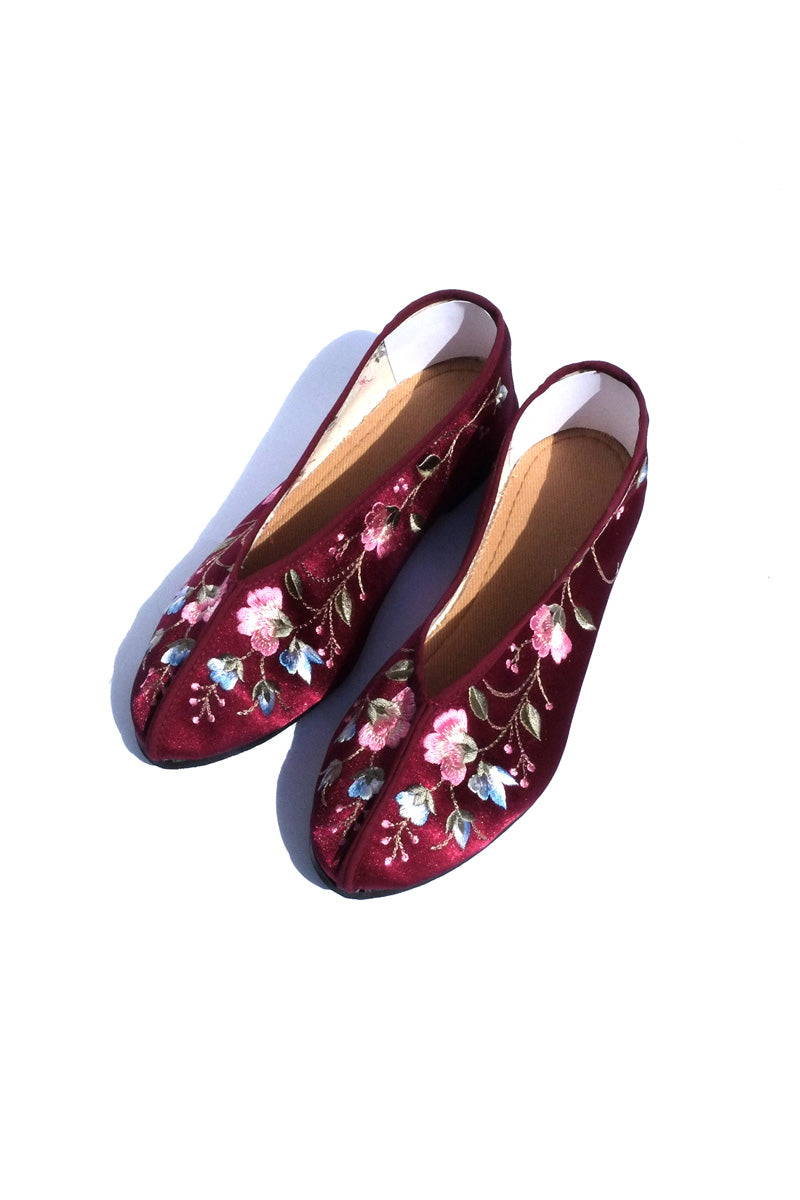 embroidered maroon theater shoes