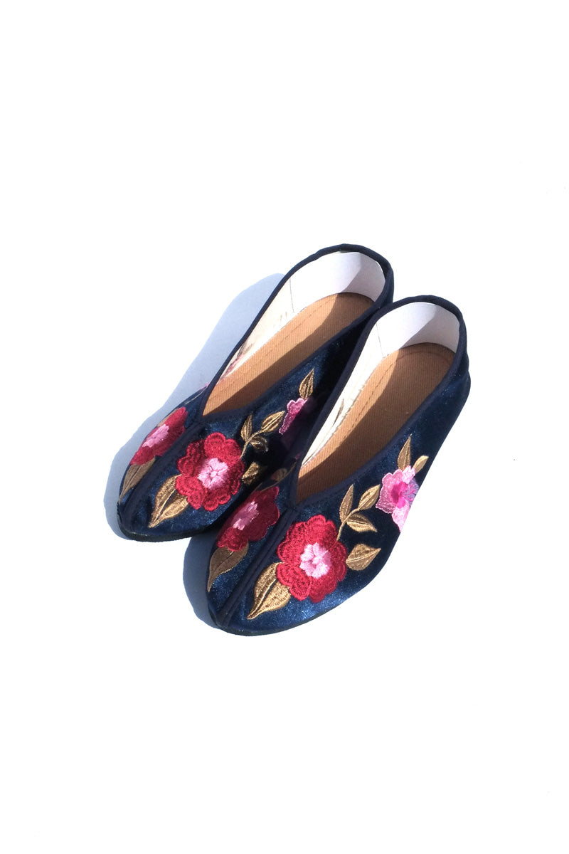 embroidered theater shoes - navy