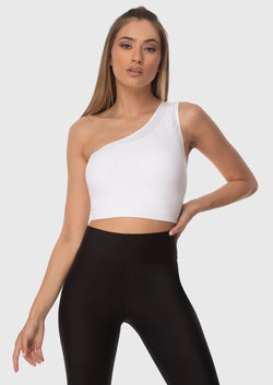 Woman Athletic TOP With One Shoulder White