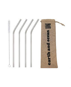 Stainless Steel Straw set (4 pieces + FREE Cleaning brush) in cloth pouch