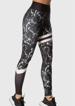 LEGGINGS- Black Marble White Lines