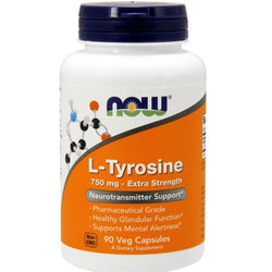 Now Foods, L-Tyrosine, Extra Strength, 750 mg, 90 Veg Capsules
