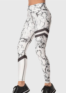 LEGGINGS - White Marble Black Lines