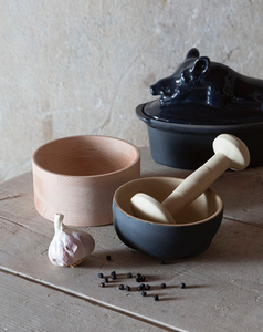 Mortar and pestle with wooden base