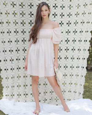 The Sophia Mini Dress - peach checkered