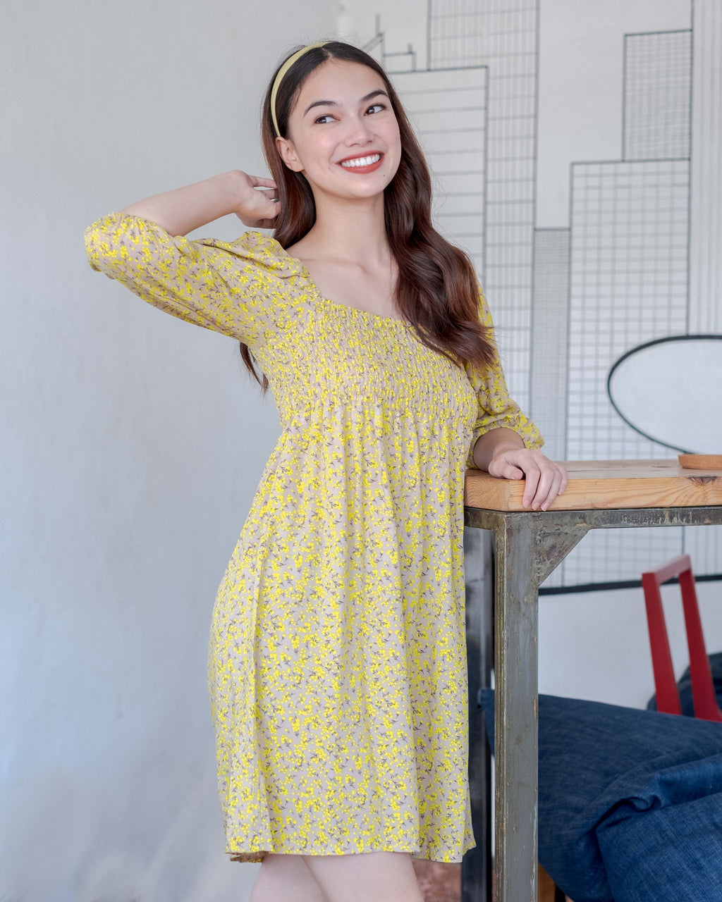 The Sophia Mini Dress - buttercup yellow floral