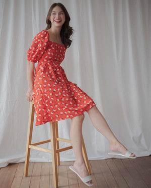 The Theresa dress - Red floral