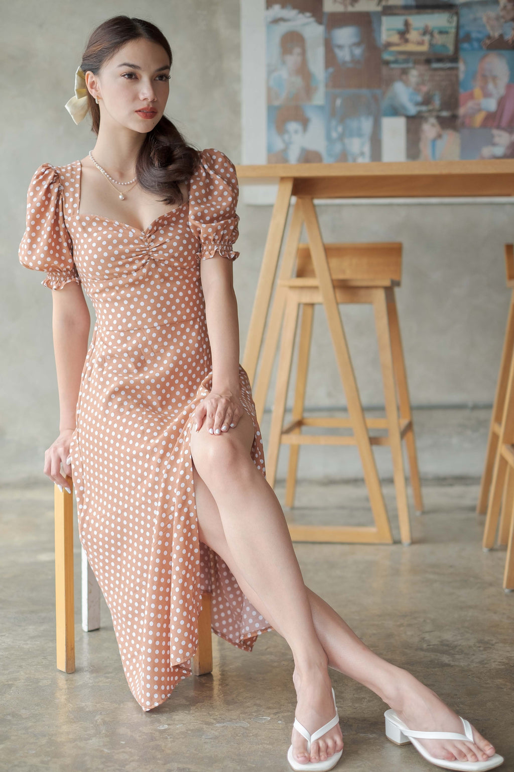 Kira midi dress - polka brown