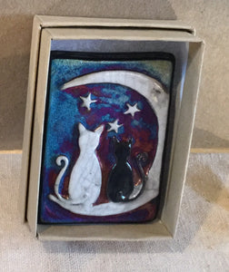 Raku  Small Wall Art - Two Cats with the Moon