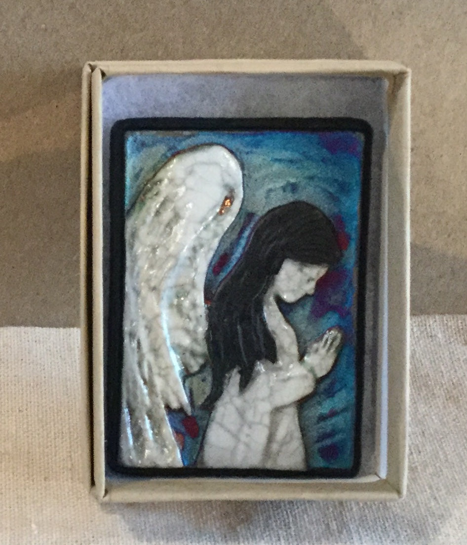 Raku  Small Wall Art - Angel in Prayer