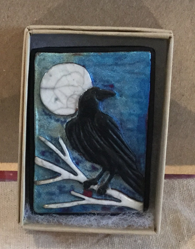 Raku Small Wall Art - Raven
