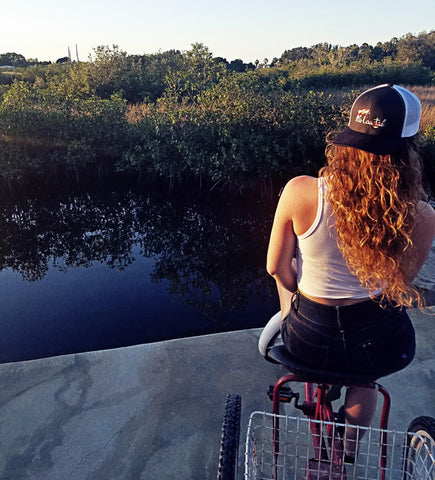 Jessi in her Florida Heritage Hat | Fla Coastal | Florida Hats | Represent The Sunshine State | Florida Flag