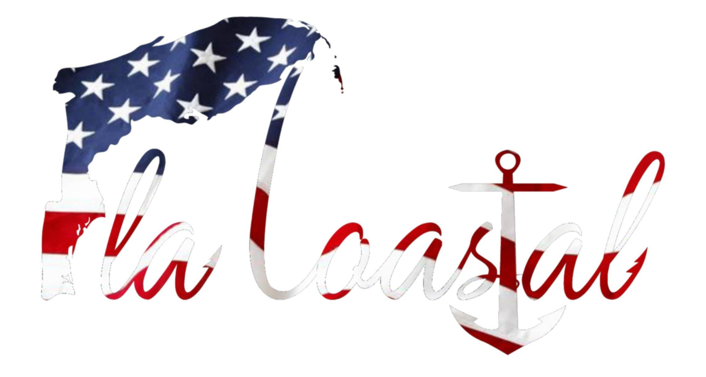 flacoastal - Fla Coastal American Flag Vinyl Decal