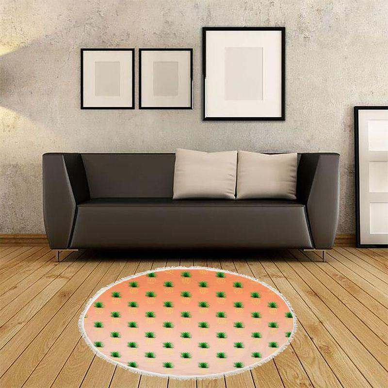 Pineapple Sunrise Round Beach Towel