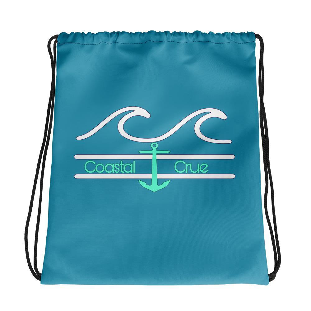 flacoastal - Coastal Crue Sea foam Drawstring bag