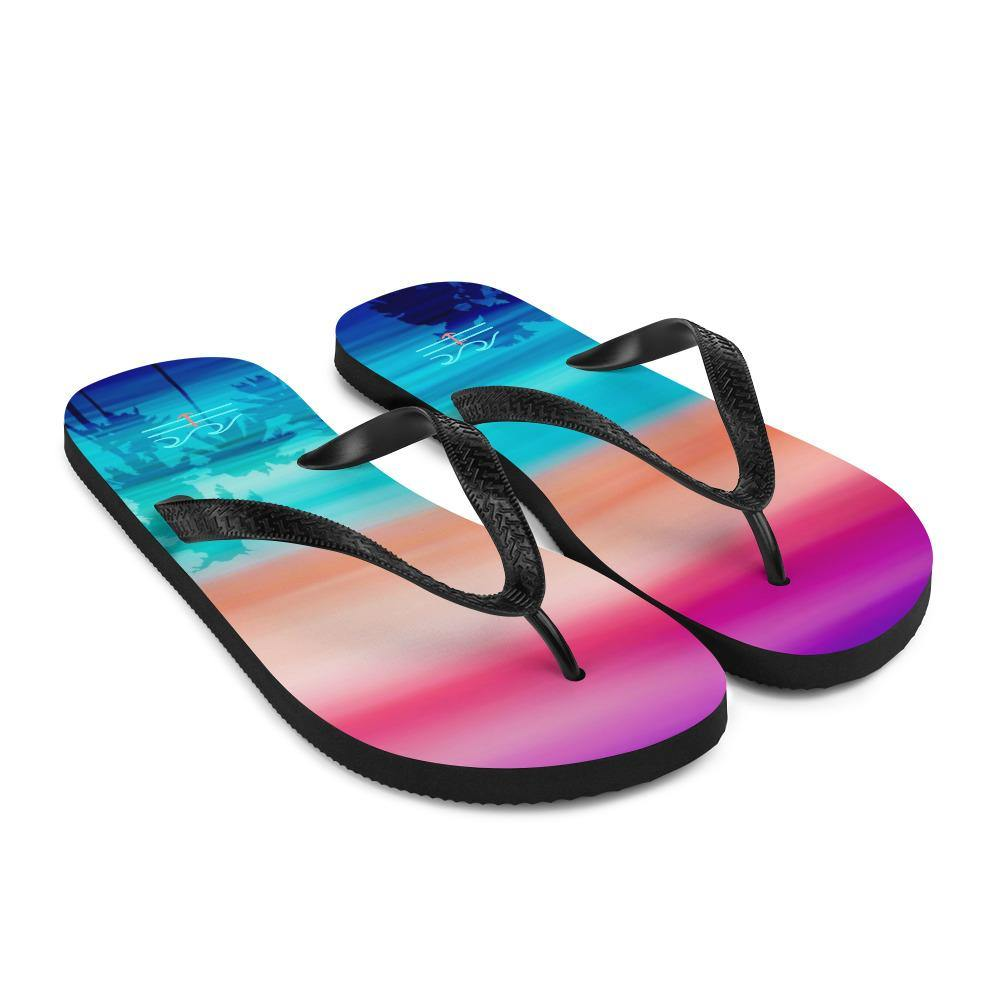 flacoastal - Coastal Crue Sunset Palms Flip-Flops